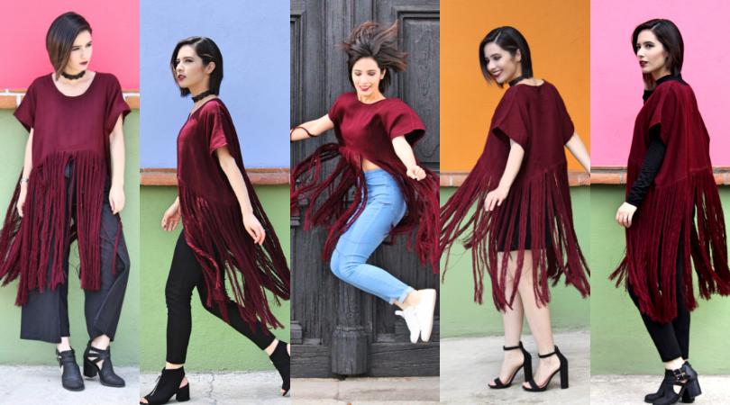 5 outfits de otoño con 1 huipil de flecos Recrear