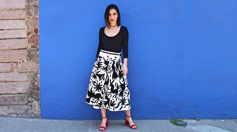 Me hice una falda con bordados tenangos y sin usar patrones